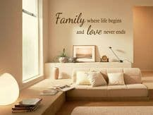"Wall Quote ""Family where life begins..."" Homely Sticker Decal Decor Transfer"